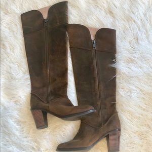 Anthropologie Farylrobin Distressed Suede Boots